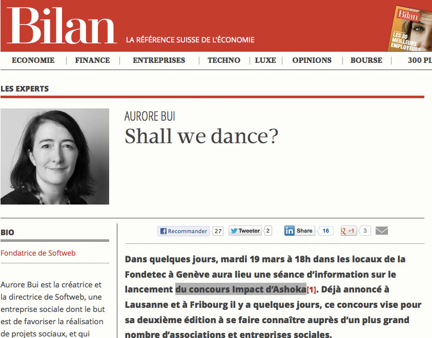 Article « Shall we dance » paru sur le site lebilan.ch