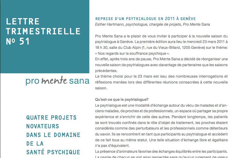 Quaterly newsletter N°51 Promente Sana